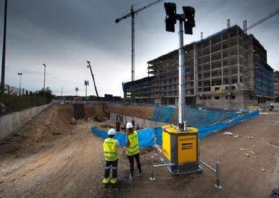 Mât d'éclairage LED hydraulique hilight B5 - Utilisation sur chantier