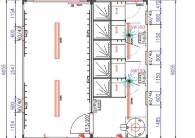 Plan du module de douche VD6 Locasix