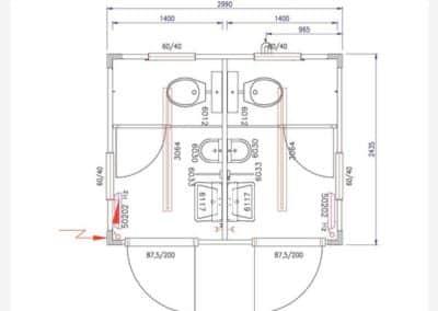 Plan du module sanitaire autonome CS2 CUK2