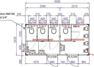 Plan du module sanitaire CS4 de Locasix